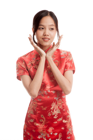 chipao: Asian girl in chinese cheongsam dress   isolated on white background Stock Photo