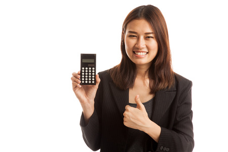 woman thumbs up: Asian business woman thumbs up with calculator  isolated on white background.