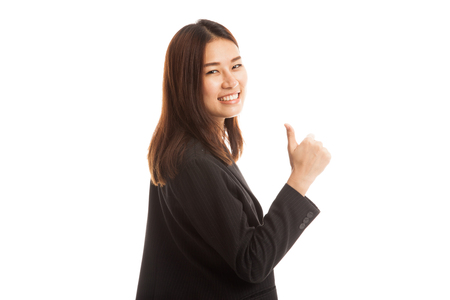 turn back: Young Asian businesswoman turn back thumbs up  isolated on white background.