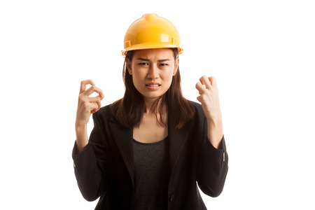 sulk: Asian engineer woman is angry , upset  isolated on white background.