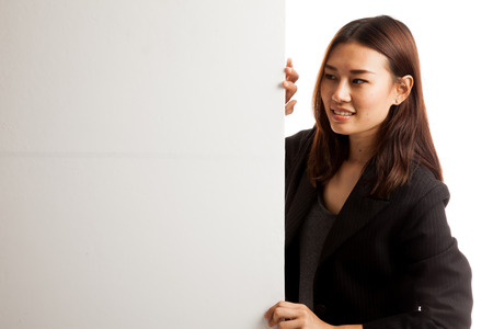 blank sign: Young Asian woman with blank sign  isolated on white background.