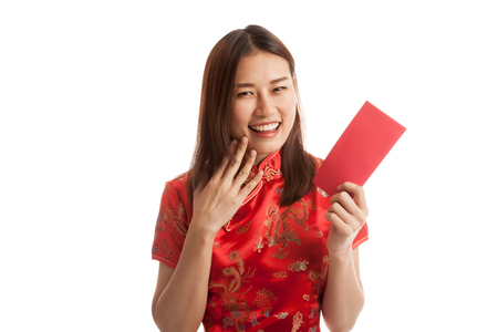 chipao: Asian girl in chinese cheongsam dress with red envelope  isolated on white background.