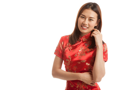 Asian girl in chinese cheongsam dress  isolated on white background.