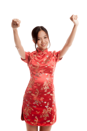 chipao: Happy Asian girl in chinese cheongsam dress   isolated on white background .