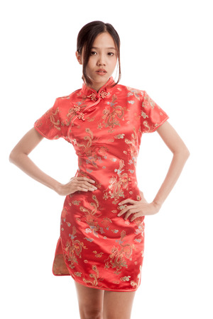 chipao: Asian girl in chinese cheongsam dress  isolated on white background . Stock Photo
