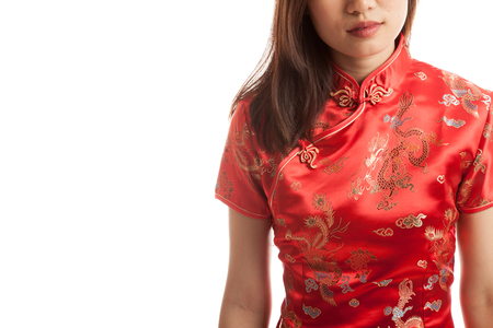 chipao: Close up of Asian girl in chinese cheongsam dress   isolated on white background.
