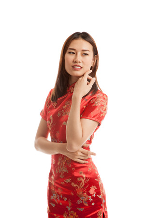 chipao: Asian girl in chinese cheongsam dress  isolated on white background.