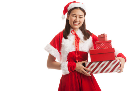 boxs: Asian Christmas Santa Claus girl with gift boxs isolated on white background.