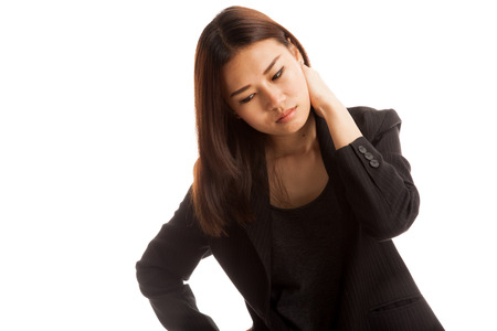 affliction: Young Asian woman got neck pain  isolated on white background.