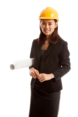 Asian engineer woman with blueprints  isolated on white background.