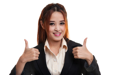 two thumbs up: Young Asian business woman show two thumbs up  isolated on white background.