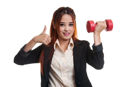 woman thumbs up: Healthy Asian business woman thumbs up with dumbbells  isolated on white background. Stock Photo