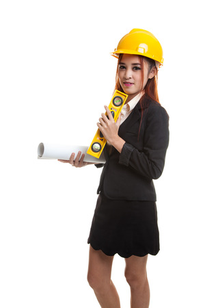 Asian engineer woman with blueprints and level  isolated on white background.