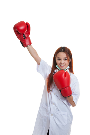 Young Asian female doctor win the fight   isolated on white background. Stock Photo