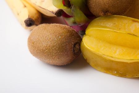 Mixed colorful  fruits  on white background Stock Photo