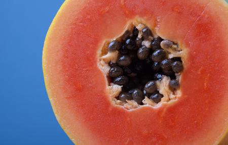 half  cut: Close up of half cut papaya with seed