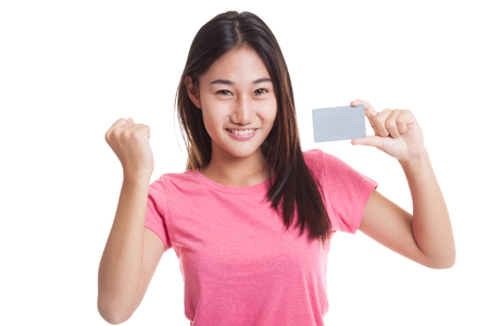 Young Asian woman fist pump with  blank card  isolated on white background..