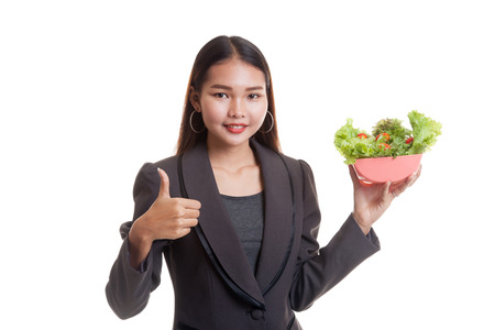 woman thumbs up: Healthy Asian business woman thumbs up with salad  isolated on white background.