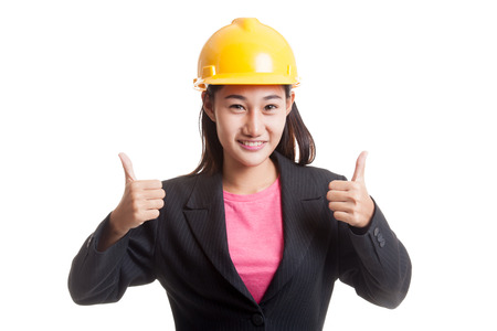 woman thumbs up: Asian engineer woman thumbs up with both hands  isolated on white background. Stock Photo