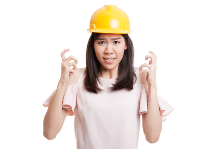 Asian engineer woman is angry , upset  isolated on white background.