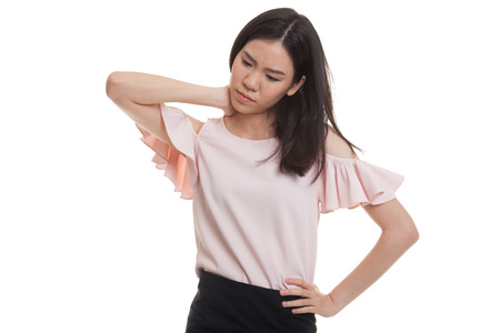 Young Asian woman got neck pain  isolated on white background.