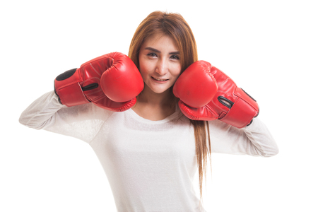Young Asian woman with red boxing gloves  isolated on white background Stock Photo