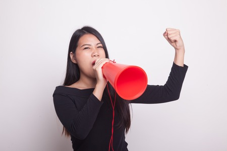 Beautiful young Asian woman announce with megaphone on white background 版權商用圖片