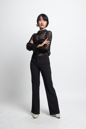 Full body of beautiful young asian woman on white background 写真素材