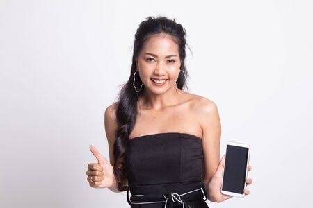Young Asian woman show thumb up  with mobile phone on white background