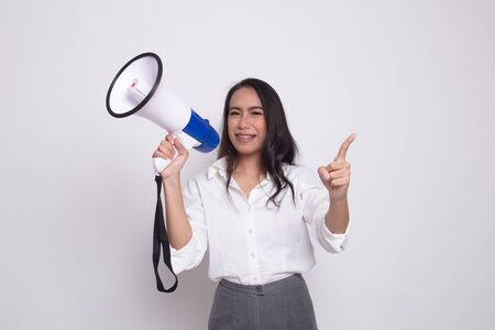 Beautiful young Asian woman announce with megaphone on white background Imagens