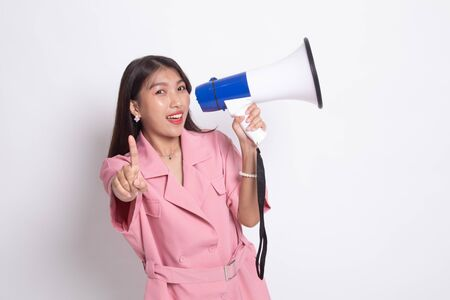 Beautiful young Asian woman announce with megaphone on white background.