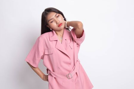 Young Asian woman got neck pain on white background.