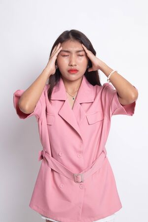 Young Asian woman got sick and  headache on white background.