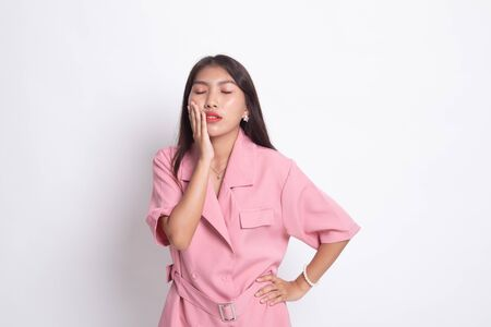 Young Asian woman got toothache on white background.