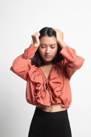 Young Asian woman got sick and  headache on white background Banco de Imagens