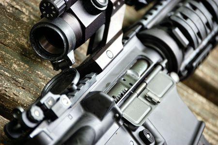 marksmanship: assault rifle close up Stock Photo