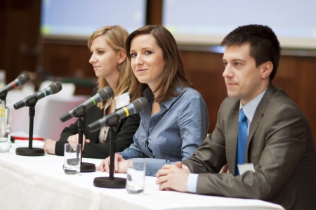 conference audience: Indoor business conference for managers.