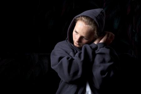 ojos tristes: Adolescente triste en la depresión. Foto de archivo