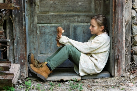 Sad little girl feels lonely  Stock Photo - 16615333
