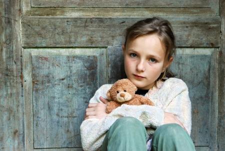 innocent girl: Sad little girl feels lonely