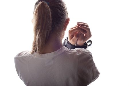 Abused child with tied up hands. Stock Photo - 16334664