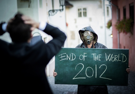 Business man is scared of the end of the world Stock Photo - 16334561
