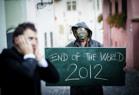 Business man is scared of the end of the world Stock Photo - 16334587