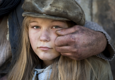 homeless people: Lonely girl Stock Photo