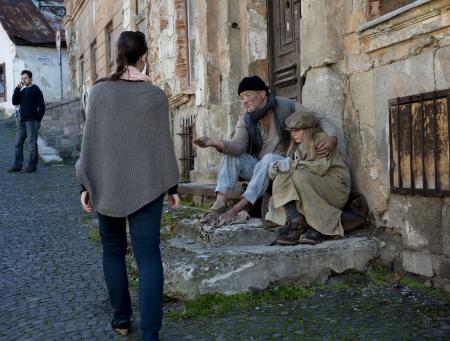 vagabond: Homeless family Stock Photo