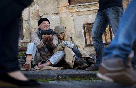 old beggar: Homeless abandoned family Stock Photo