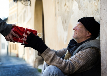 Christmas gift for homeless man Stock Photo - 16334609