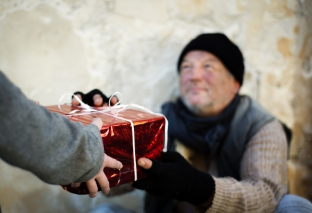 homeless person: Christmas gift for homeless man
