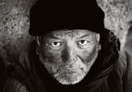 homeless people: Lonely old man