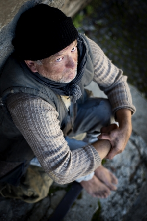 homeless person: Homeless man on the street